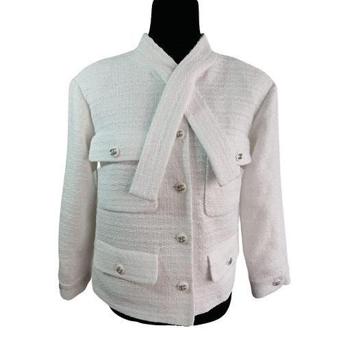 Blazer Tweed Blanco Nieve