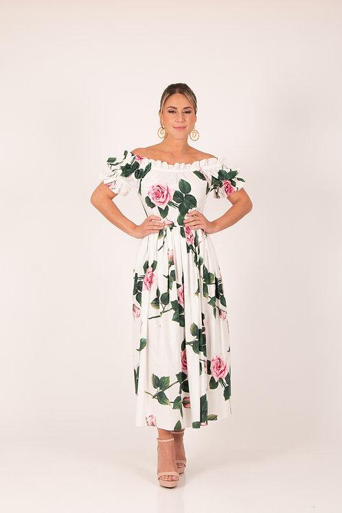 Vestido estampado flores blanco