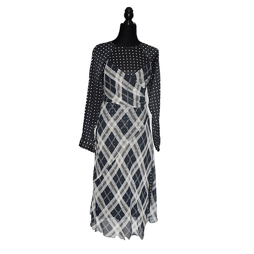 Vestido de seda con chifón de seda