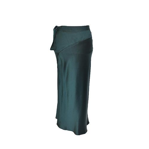 Falda recta verde de seda