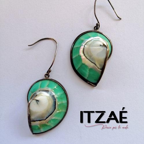 Arete en plata caracol verde agua