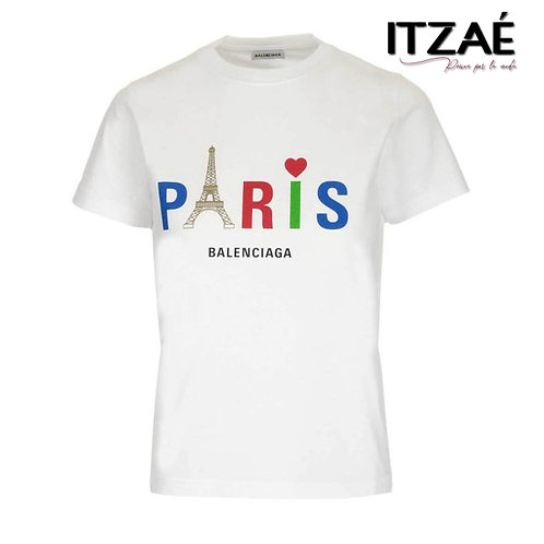 Playera blanca letras Paris