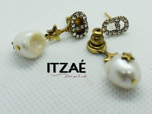 Arete perla y cristales