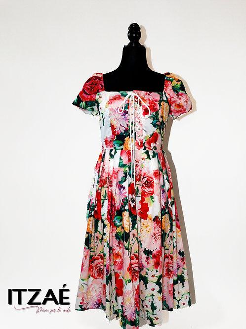 Vestido tipo corset estampado de flores