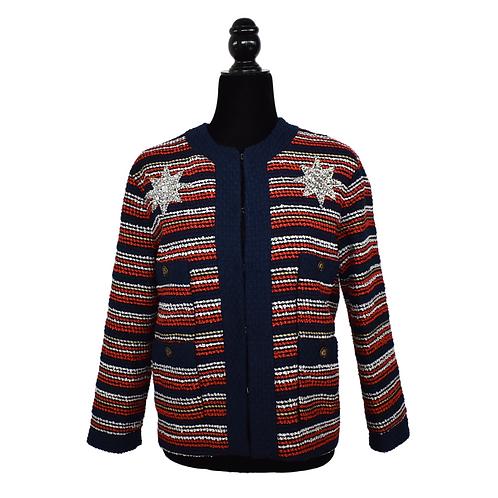 Blazer tweed con pedrería