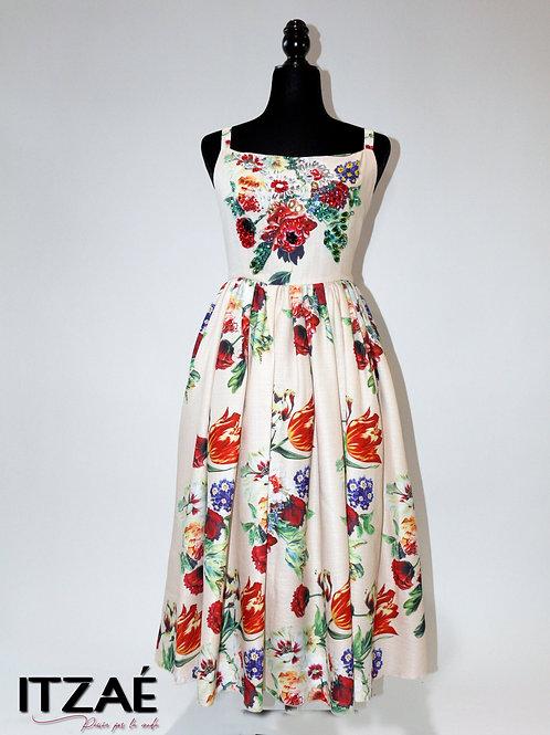 Vestido de lino estampado de flores