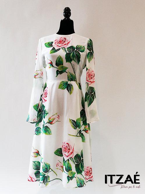 Vestido blanco largo de rosas