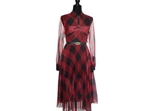 Vestido vino / negro mesh