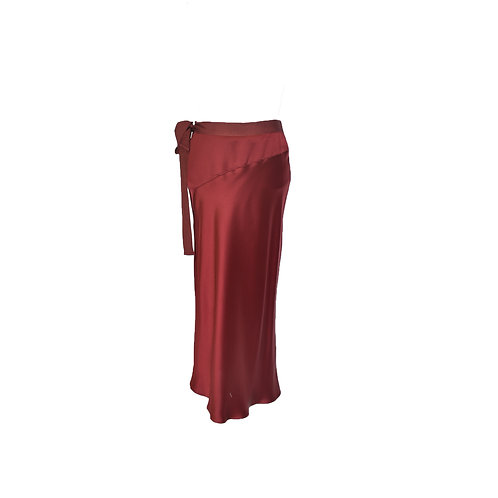 Falda recta roja de seda