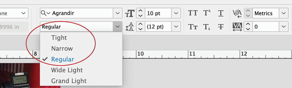 InDesign font weight setting
