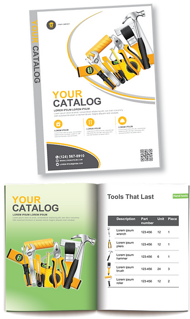 YOUR CATALOG sample catalog cover and inside spead