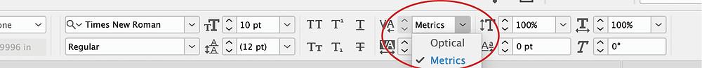 InDesign font kerning setting