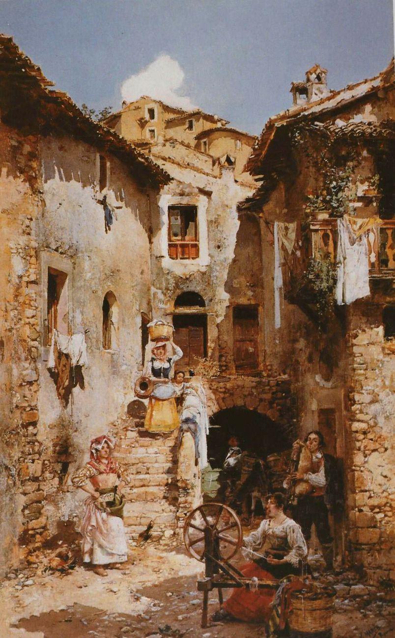 A Roman courtyard in summer