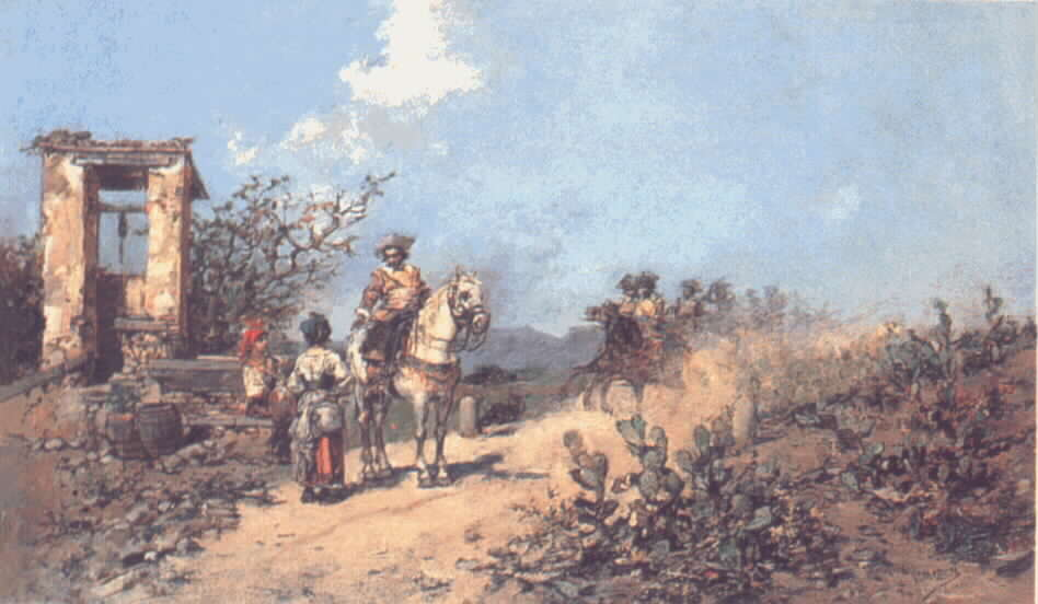Riders at a well