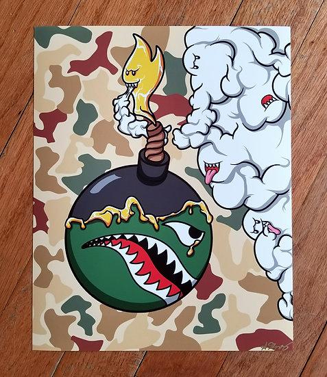 Spitfire Airplane Cartoon Bomb Fine Art Print
