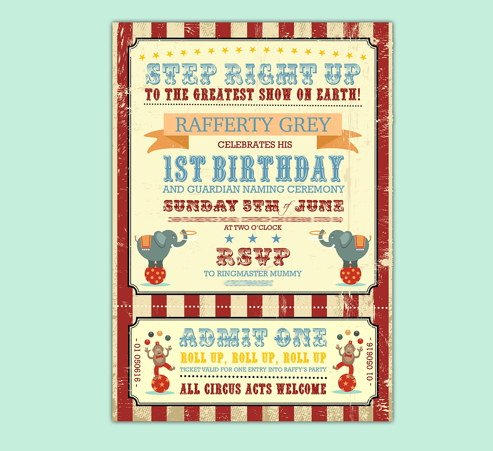 Circus themed birthday invitation