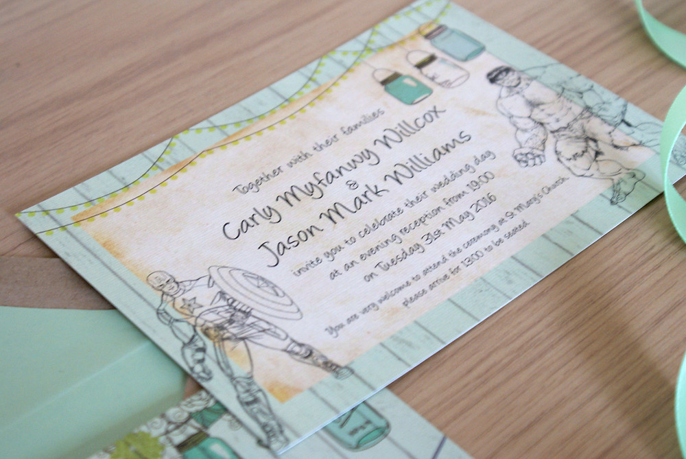 Carly and Jase - Mint green, vintage, marvel wedding invitations