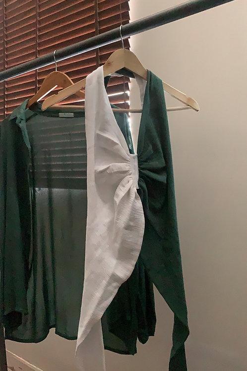Forest green shirt + Bralette