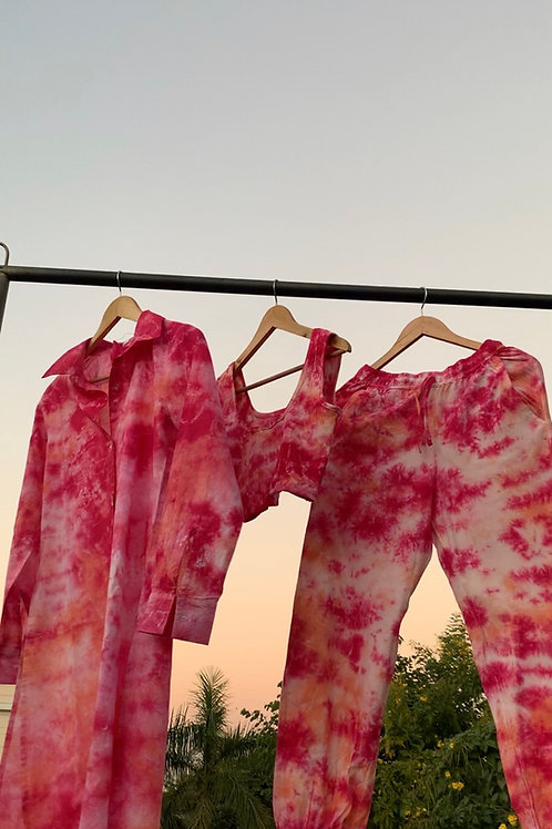 PINK DAWN TIE  DYE  3 PIECE SET