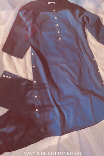 NAVY SIDE BUTTONED SET