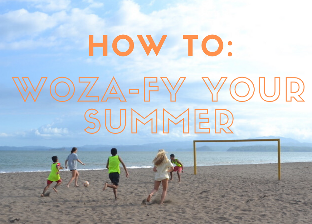 "Photo of Woza Soccer players on the beach in Costa Rica with overlaying text that reads, ""How to: Woza-fy your summer"""