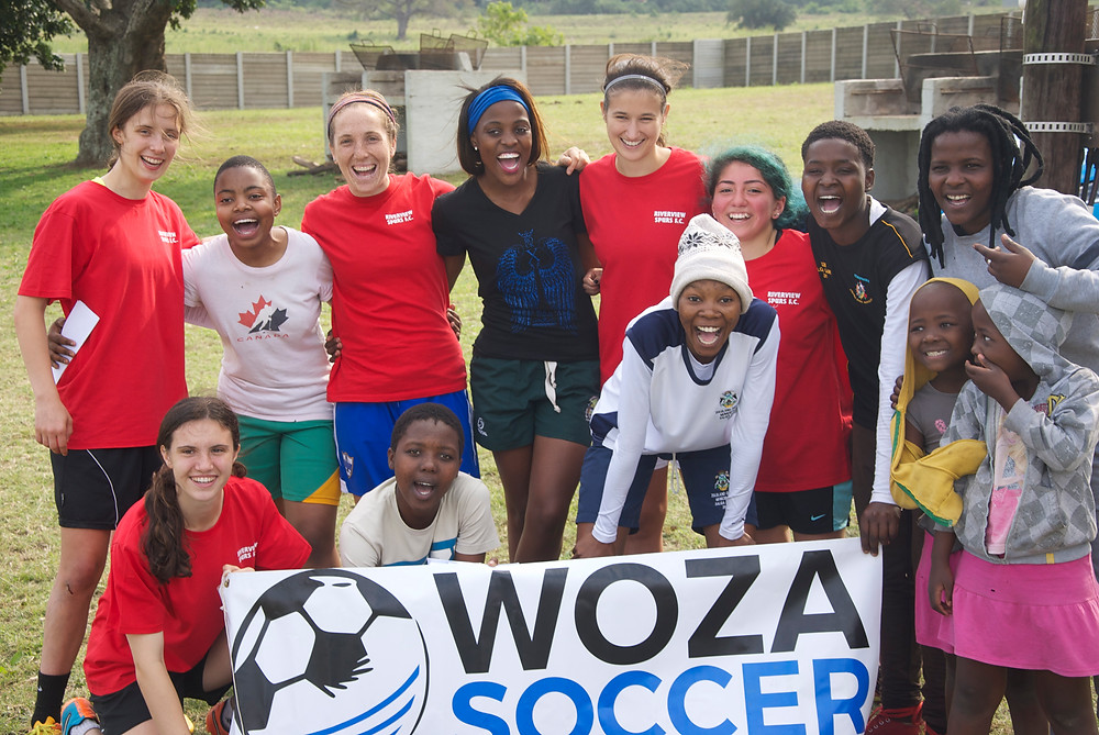 The Mtuba Football Acadmey girls soccer team and Woza Students. Mtubatuba, South Africa, 2016