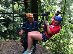 Girl ziplining in Costa Rica