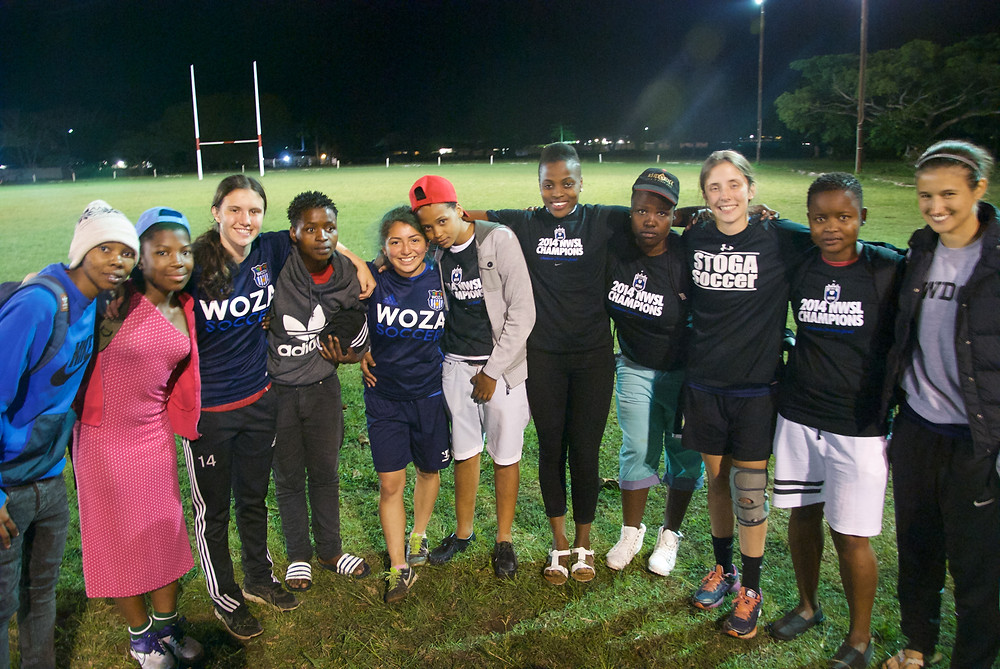 MFA girls soccer team with Woza players on the last night in South Africa. It was a hard and emotional goodbye.