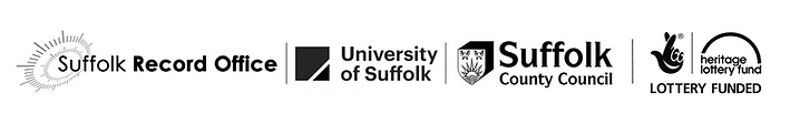 Logos for Suffolk Records Office, UoS, SCC and Lotteries