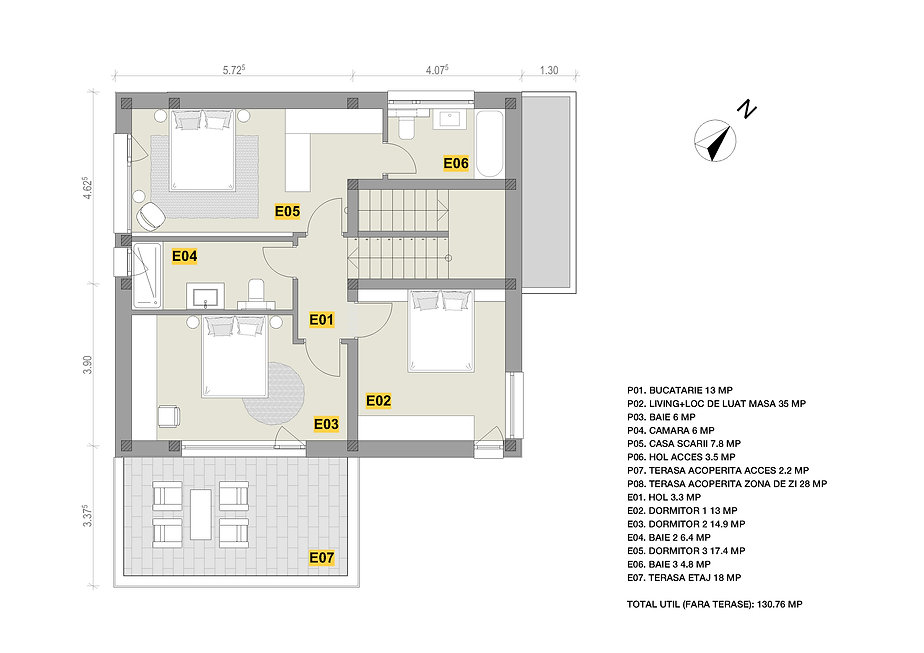 Popesti case contemporane - plan etaj.jp