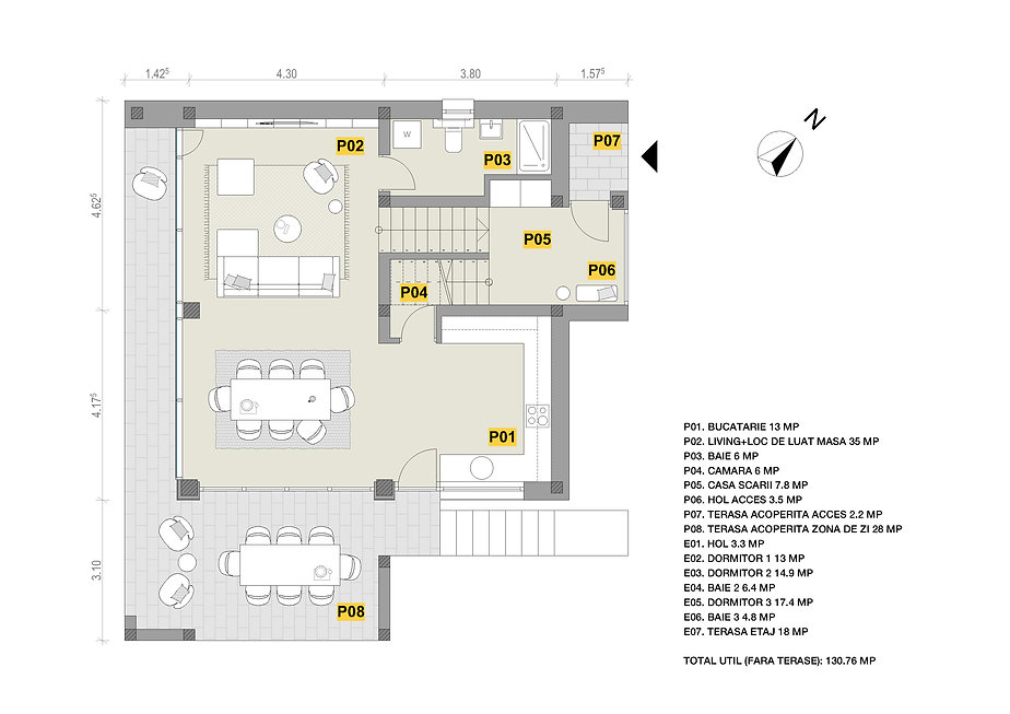Popesti case contemporane - plan parter.