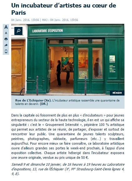 Article dans le parisien, Janv 16