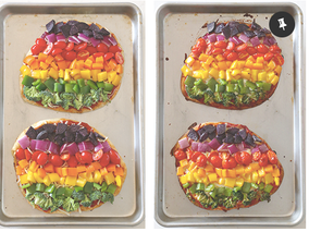 We made Rainbow Pizzas at kindy