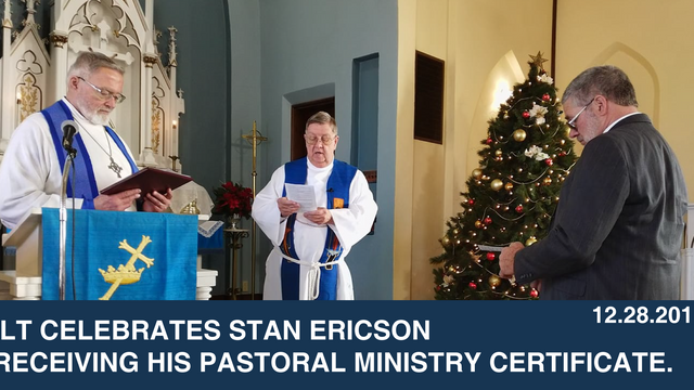 ILT celebrates Stan Ericson receiving his Pastoral Ministry Certificate.