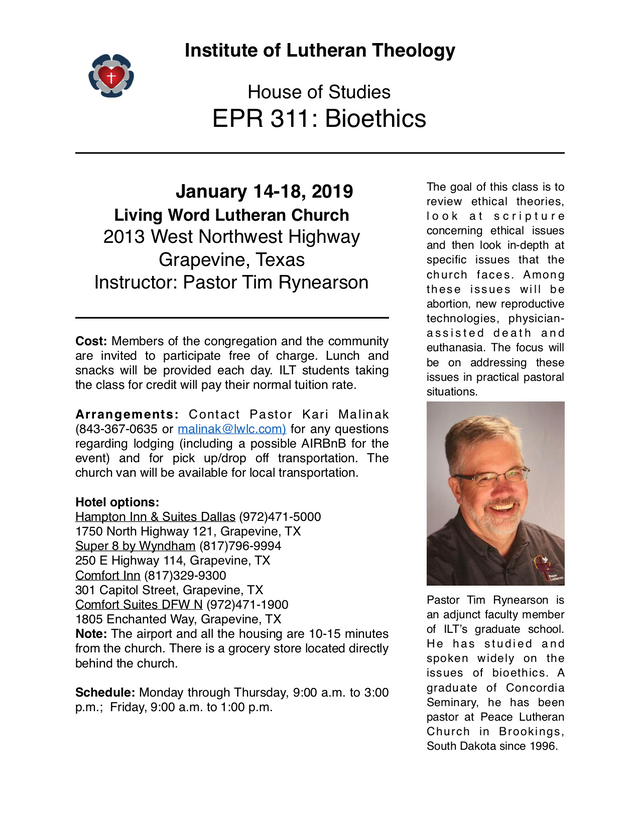 January 14-18, 2019 | Living Word Lutheran Church