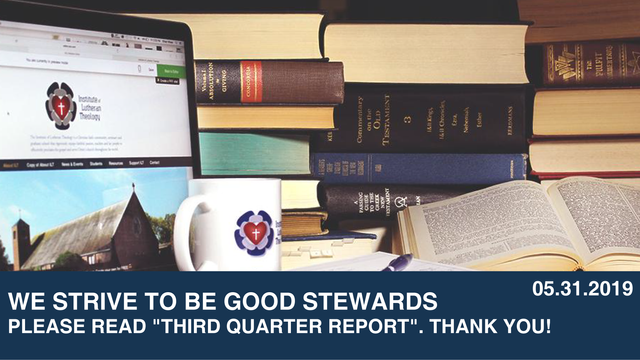"""We Strive to Be Good Stewards                - Please read """"Third Quarter Report"""". Thank y"""