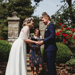 Couple at outdoor wedding