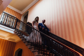 Bride and Father of the Bride on stairs