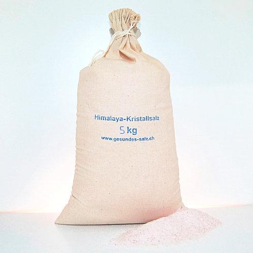 5 KG feines Himalayasalz im Baumwollsack mit Kordel