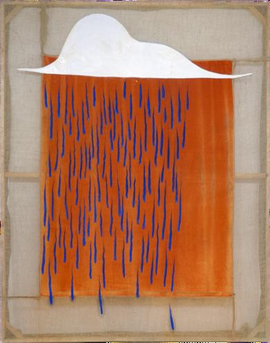 A Cloud bursting (3) 2020 Oil paint on hessian and sun-bleached velvet   295 x 237 cm