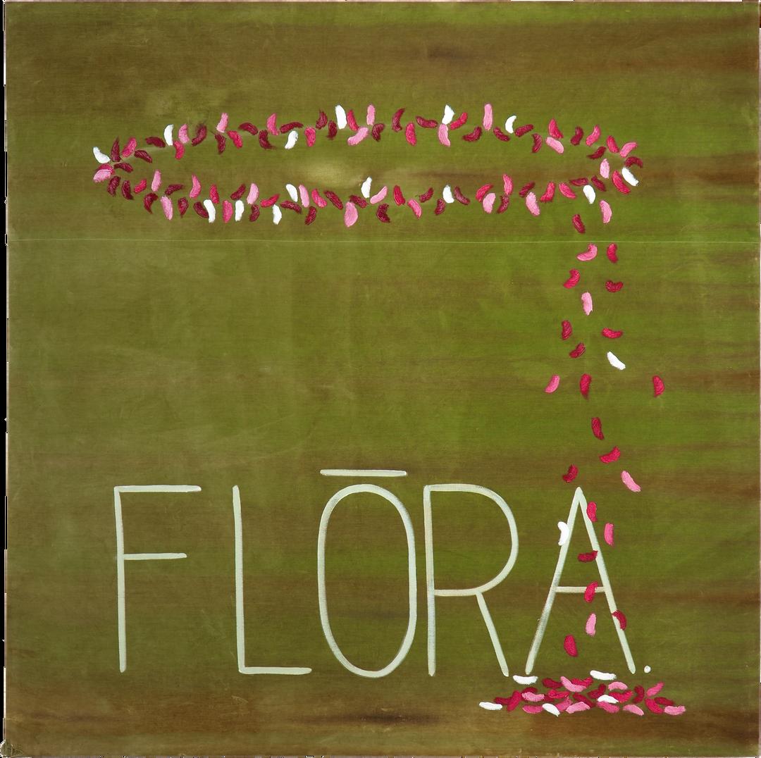 Fl!ra 2020 Oil paint on sun-bleached velvet   173.5 x 173 cm