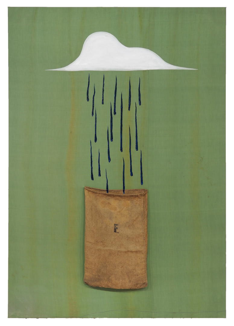 Sack of Rain 2020 Oil, gesso, stained-glass paint and hessian on cotton   185 x 130 cm