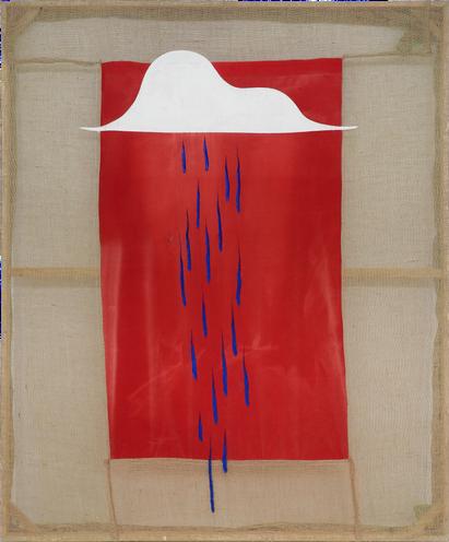A Cloud bursting (1) 2020 Oil paint on hessian and sun-bleached velvet   265 x 221 cm