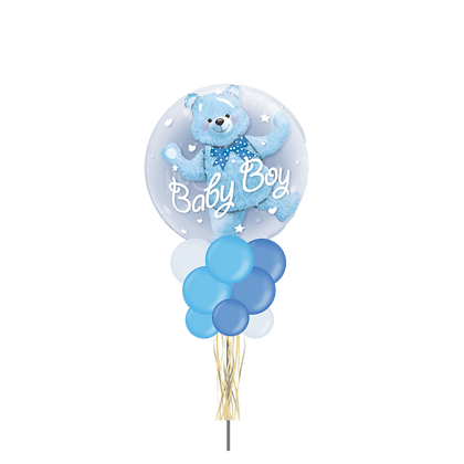 Baby Boy Blue Teddy Bubble Party Pole