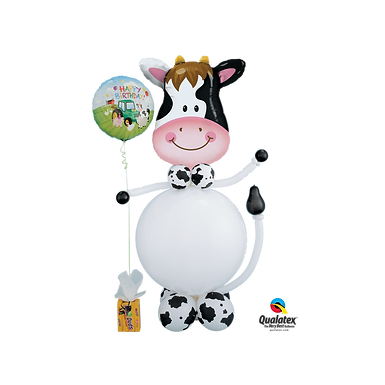 Farm Animal Cow Stuffed Pop-A-Balloon Gift