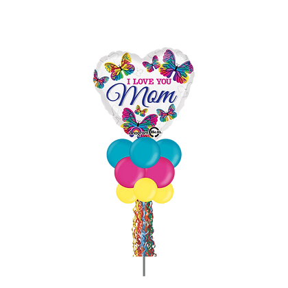 I Love You Mom Butterfly Large Party Pole