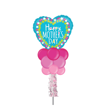 Happy Mothers Day Blue Heart Large Party Pole