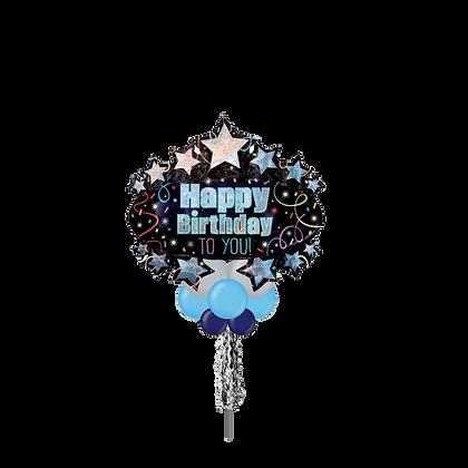Jumbo Party Pole-  Happy Birthday Stars