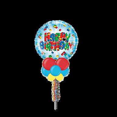 Blocks Happy Birthday Large Party Pole