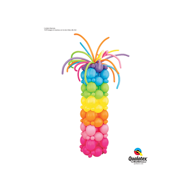 Deluxe Rainbow Balloon Column With Firework Topper